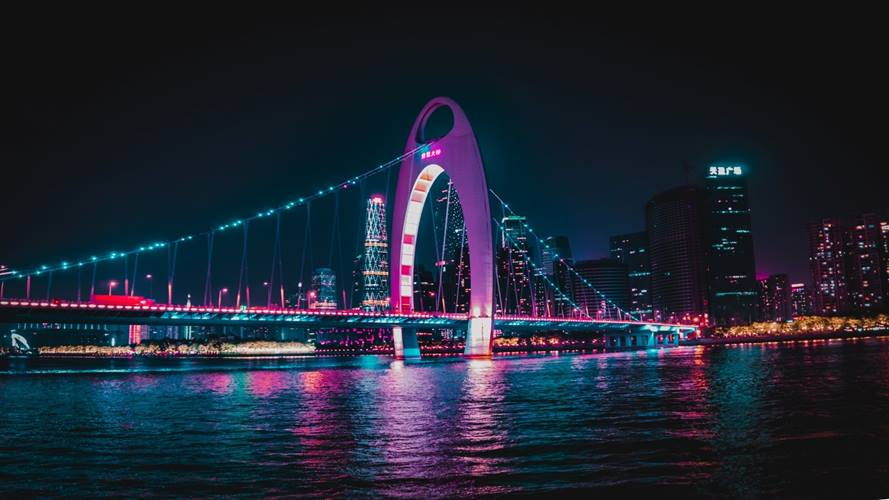 Bridge at night in Chongqing, China