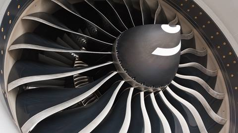 A close up of a jet engine
