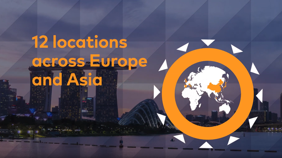 Infographic showing Hawksford are in 12 locations across Europe and Asia