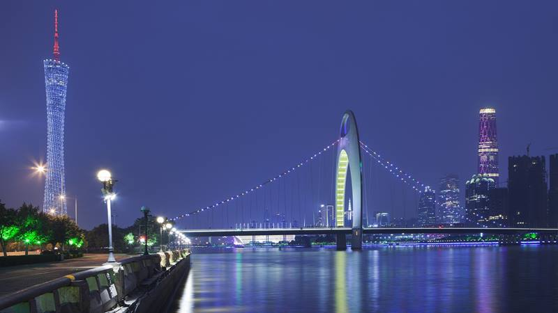 Night time view of one of China's most iconic bridges