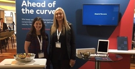 Cherith Fothergill and Sian Huish on the Hawksford stand at the Infrastructure Investor Global Summit 2018