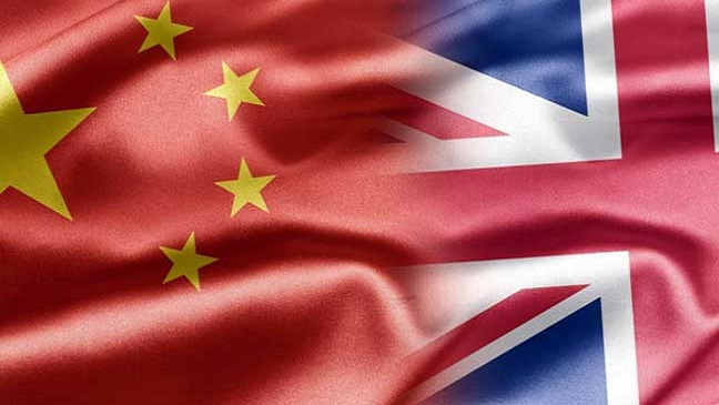 China's flag and the Union Jack flag merging together