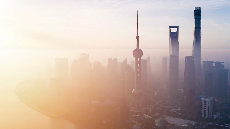 Sunset view of Shanghai