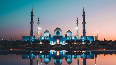 A Mosque near a river UAE
