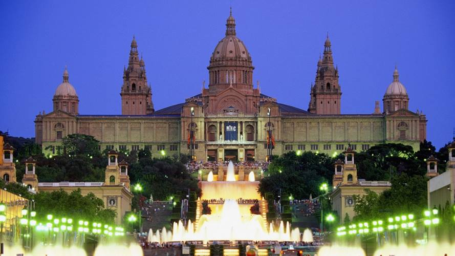 Facade of Palace of Montjuic, Barcelona, Spain by night